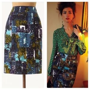 Anthropologie Liquid Acres Skirt Tabitha Blue